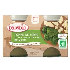 BABYBIO Petit pot pomme de terre épinard bio dès 4 mois 2x130g