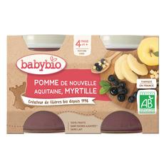 BABYBIO Petit pot dessert pomme myrtille bio dès 4 mois 2x130g