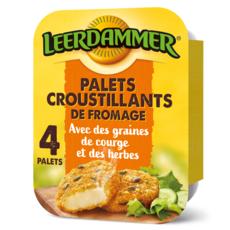 LEERDAMMER Palet croustillant de fromage avec une panure aux graines de courges et aux herbes précuit 4 palets 160g