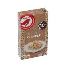AUCHAN Riz complet cuisson rapide prêt en 10 min 8 portions 500g