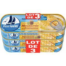 PETIT NAVIRE Filets de maquereaux à la moutarde à l'ancienne 3x169g
