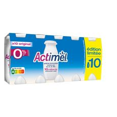 ACTIMEL Yaourt à boire 0% nature 10x100g