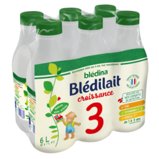 BLEDINA Blédilait 3 lait de croissance liquide dès 12 mois 6x1l