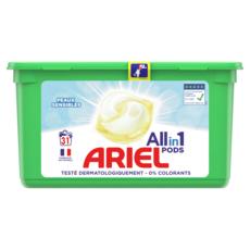 ARIEL Pods capsules de lessive tout en 1 peaux sensibles 31 lavages 31 capsules