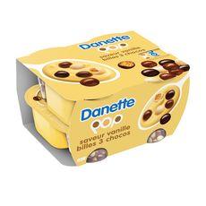 DANETTE POP Crème dessert vanille billes 3 chocolats 4x117g