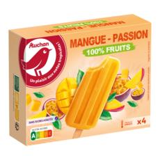 AUCHAN Bâtonnet 100% fruits mangue et passion sans sucres ajoutés 4 pièces 240g