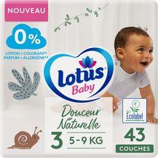 LOTUS BABY Couches douceur naturelle taille 3 (5à9kg) 43 couches