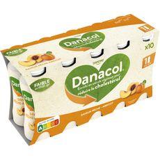 DANACOL Yaourt à boire 0% pêche abricot 10x100g