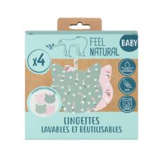 FEEL NATURAL Lingettes lavables et réutilisables  4 pièces