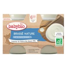 BABYBIO Petit pot brassé nature bio dès 6 mois 2x130g