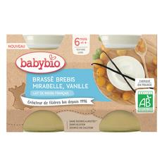 BABYBIO Petit pot brassé brebis mirabelle et vanille bio dès 6 mois 2x130g
