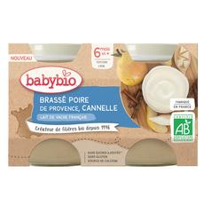 BABYBIO Petit pot brassé poire de Provence et cannelle bio dès 6 mois 2x130g