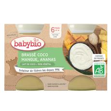 BABYBIO Petit pot brassé coco mangue et ananas bio dès 6 mois 2x130g