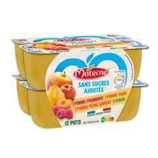 MATERNE Coupelles pomme framboise pêche abricot poire sans sucres ajoutés 12x100g