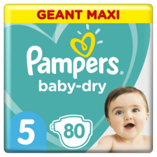 PAMPERS Baby-dry Couches taille 5 (11-16kg) 12 h de protection 80 couches