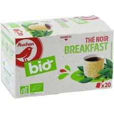 AUCHAN BIO Thé noir breakfast 20 sachets 36g