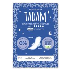 TADAM Serviettes hygiéniques sensitives nuit avec ailettes 100% coton bio ultra 10 serviettes