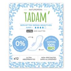 TADAM Serviettes hygiéniques sensitives avec ailettes 100% coton bio super+ 12 serviettes