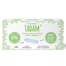TADAM Tampons en coton bio sans applicateur ultra-absorbant normal 16 tampons