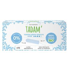 TADAM Tampons en coton bio sans applicateur ultra-absorbants super 16 tampons
