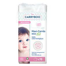 CARRYBOO Coton maxi-carrés bio pour bébé 70 cotons