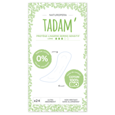 TADAM Protège-lingerie dermo-sensitif 100% coton bio long 24 pièces