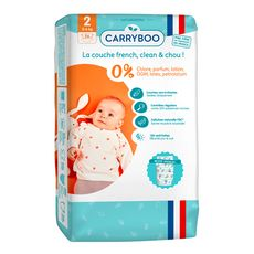 CARRYBOO Couches écologiques dermo-sensitives taille 2 (3-6kg) 56 couches