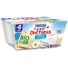 NESTLE P'tit onctueux petit pot dessert lacté nature bio dès 6 mois 4x90g