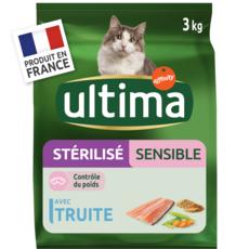 ULTIMA Croquettes truite légumes et céréales pour chat stérilisé sensible 3kg