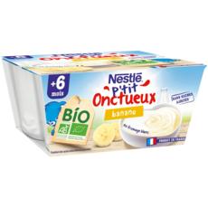 NESTLE P'tit onctueux petit pot dessert lacté banane bio  dès 6 mois 4x90g