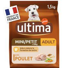 ULTIMA Mini adulte poulet croquettes pour chien 1,5kg