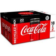 COCA-COLA Boisson gazeuse aux extraits végétaux sans sucres boîte 20x33cl dont 2 offertes