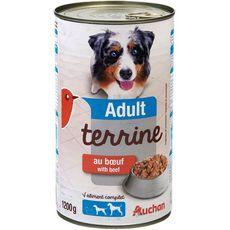 AUCHAN Boîte terrine au boeuf pour chien adulte 1,2kg