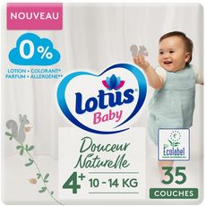 Lotus LOTUS BABY Couches douceur naturelle écologique taille 4+ (10 à 14kg)