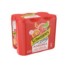 SCHWEPPES Boisson gazeuse zéro saveur 4 agrumes boîtes slim 6x33cl