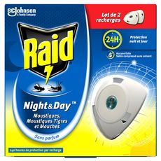 RAID Night & Day recharges pour diffuseur électrique anti-moustiques & mouches 2 recharges