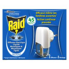 RAID Diffuseur électrique anti-moustiques & moustiques tigres efficace 45 nuits 1 diffuseur