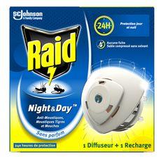 RAID Night & Day diffuseur électrique anti-moustiques & mouches 240 heures 1 diffuseur