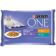 PURINA One sachets repas poulet thon pour chat sensible 4x85g