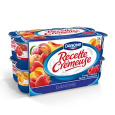 DANONE Yaourt aux fruits abricot-pêche-fraise-framboise 16x125g