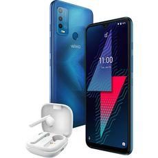 WIKO Smartphone Power U30  4G  128 Go  6.82 pouces  Bleu + Ecouteurs WiBuds Pocket blancs