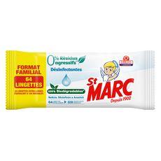 ST MARC Lingettes biodégradables désinfectantes sans résidus agressifs 64 lingettes