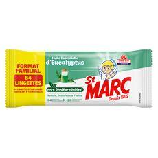 ST MARC Lingettes désinfectantes biodégradables aux huiles essentielles eucalyptus 64 lingettes