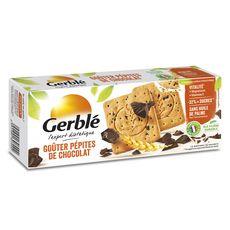 GERBLE Biscuits aux pépites de chocolat sans huile de palme, sachets fraîcheur 12x4 biscuits 250g