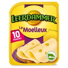 LEERDAMMER Le Moelleux Fromage nature en tranche 10 tranches 250g