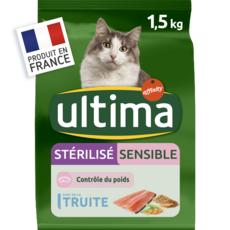 ULTIMA Croquettes à la truite pour chat sensible stérilisé 1,5kg
