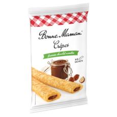 BONNE MAMAN Crêpes fourrées chocolat noisettes, sachets individuels 6 crêpes 192g