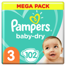 PAMPERS Baby-dry couches taille 3 (6 à 10kg) 102 couches