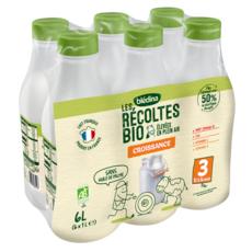 BLEDINA Blédilait lait de croissance liquide bio dès 12 mois 6x1l