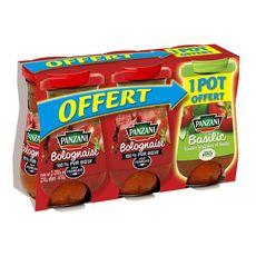 PANZANI Sauce bolognaise pur bœuf + Sauce aux tomates fraiches et basilic   3x200g